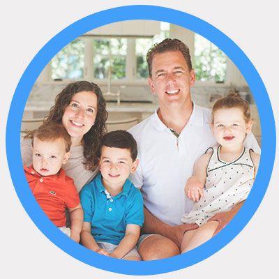kitchen smiling family photo